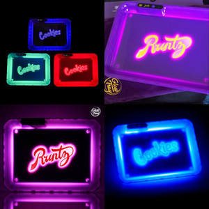 Cookies récent Plateau Runtz Lueur Plateau LED roulant Glow Light Up rechargeable Party automatique en mode de roulement Plateaux Multicolore Métal Glowtray