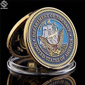USA Department of the Navy Great Seal American Gold plattiert Challenge-Münzsammlung Metal Crafts W / Kapsel