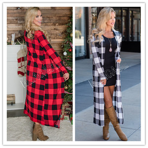 2020 Women Cardigan Clothes 2020 autumn and winter fashion long-sleeved plaid print long sweater cardigan casual jacket Blouses SALE D81206