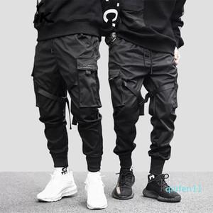 MarchWind 브랜드 힙합 보이 멀티 포켓 탄력있는 허리 디자인 하렘 바지 남성 스트리트 펑크 캐주얼 바지 조깅 남성은 검은 색 바지 춤