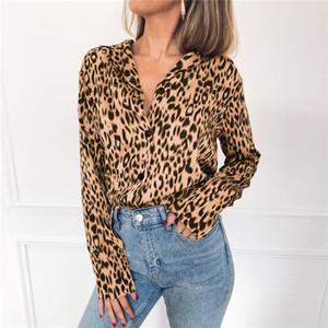 2020 otoño de las mujeres de la blusa Sexy cuello en V larga de señora Leopard manga de la camisa blusas de moda casual camisa de estilo para las mujeres