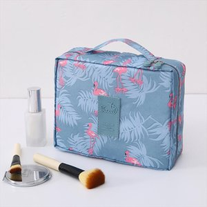 Multifunction Travel Cosmetic Bag Neceser Women Makeup Bags Floral Toiletry Organizer Waterproof Flamingo Storage Make up Cases