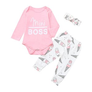 Free Shipping New Arrival Infant Baby Girls Letter Romper+Ice Cream Print Pants+Headband Outfits Set Z0128
