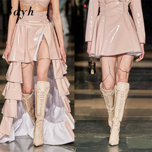 2020 Women Pumps Sexy Model Catwalk Boots Pointed Toe Genuine Leather High Heel Lace-Up Knee Boots Fashion Rome Gladiator Shoes