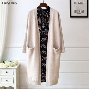 FairyShely Kaşmir Uzun Triko Hırkalar Kadınlar 2020 Sonbahar Kış Gevşek Cep Casual Örme Hırka Dış Giyim Ceket Kaban T200820