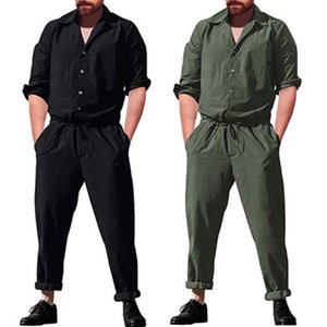 Summer Fashion Long Sleeve Men sets Rompers Single Breasted Jumpsuit Long Pants Elastic waist Trousers Mens Clothing Overalls