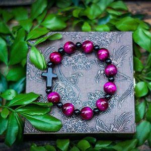 10mm Natural Stone Tiger Eye Cross Bracelet Christ Prayer Lucky Beads Bracelet