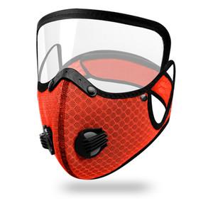 DHL expédition 2 In 1 Face Mask Avec Eye Shield réutilisable Masques anti-poussière lavable Valve unisexe randonnée à vélo masque de protection du visage Couverture GWF824