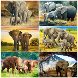AZQSD DIY раскраски By Numbers наборы краски Слон UNFRAME акриловой живописи цифрами на холсте животных Украшение