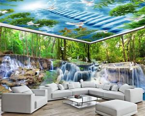 Home Decor 3d Wallpaper Large Landscape Waterfall Beautiful Ladder Living Room Bedroom Decoration HD Silk Wallpaper
