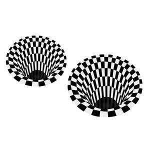 2pc 3D Tapis visuel Illusion Anti-Skid Zone Salle Mat