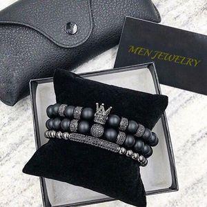 Norooni 2018 2Pcs / Set presentes uxury Moda Crown Charm Bracelet Natural de pedra para as mulheres e homens Pulseras Masculina de presente