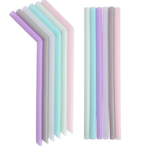 Sıcak Silikon İçme Straw Çok renkli Yeniden kullanılabilir Silikon saman Katlanmış Bent Düz Straw Ana Bar Aksesuar silikon tüp