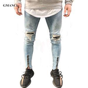 GMANCL Hip Hop Mens Jeans patches distressed jeans slim fit Skinny leg rock Ripped Stretch denim Jogger pants Plus Size 38