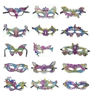 Lace maschera di protezione mezza colorate oro Stamp Dance Women Lace Mask maschere mascherata colorato rifornimenti Costume Party di Natale EWC1099