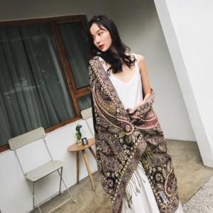 H8PjU estilo jacquard nacionalidade Ethnic Travel Group cachecol xale Nepal Lijiang estilo étnico dupla utilização lon foto inverno das mulheres primavera outono