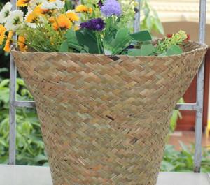 Seagrass Planter Basket cubierta de flores al aire libre cubierta de macetas de contenedores decorativo moderno de jardinería Pot 12 colores LJJK2461