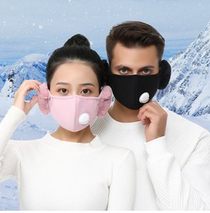 2 In 1 Face Mask With Valve Plush Ear Protective Mask Washable Reusable Thick Warm Mouth Cover Winter Mouth-Muffle Earflap Free DHL LQQ143