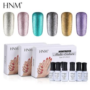 HNM 6pcs lot 8ML Glitter Gel Nail Set UV Gel Nail Polish Kit Semi Permanent Esmalte GelLak Hybrid Varnishes Acrylic Art Kit