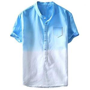 Летняя мода Карманы Дизайнера Повседневной Пляж Hombres тройники Mens Line Tie окрашенных футболки