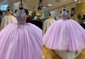 Romantic Lilac Halter Quinceanera Prom dresses Ball Gown Rhinestones Top Bling Puffy Skirt Beaded Evening Formal Gowns Plus size Cheap
