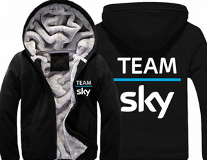 Team Sky Pro Cycle Толстые ватки Mens Outwear Большой Yards Хлопок Hoodie куртки пальто ветровки Теплый W4Dj #