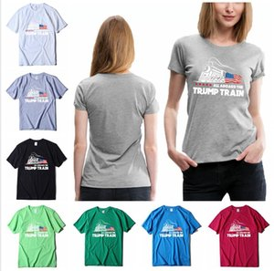 T-shirt Trump 2020 América Eleição Impresso Tudo a bordo do Trump Train algodão de manga curta Casual Verão Esportes Tops T Roupa LJJP396