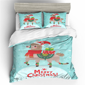 New 3D Merry Christmas Duvet Cover Set Bedding Set Santa Claus Cartoon Bed Gifts Size Full Queen King Christmas Decorate