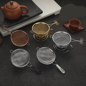 Las fugas té neto de acero inoxidable chapado en oro pantalla de filtro Tamices Muti Colores Funnel manija de metal cerámica decorativa 9XG C2