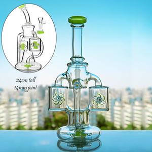 Klien Recycler Dab Rigs кальянокурение шлифовальной толстое стекло вода затяжки кальяны кальян золоуловитель Чича бесплатная доставка
