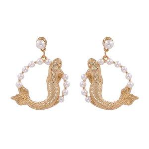 Fashion Golden Fish Earrings Women Geometric Statement Circle Drop Earrings Jewelry Female Faux Pearl Dangle