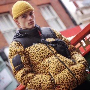 18FW Leopard Down Jacket Hooded Nuptse Jacket Deciduous leaves Print Nuptse Coats Couple Coat Winter Outerwear Fashion HFTTYRF024