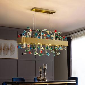 Роскошный прямоугольник хрустальных люстры освещения для жизни и столовой висит Осв.арматуру металлического золота лампы с E14 LED