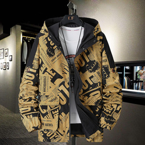Camo Windbreaker Jacket Men Plus Size Jacket Fashion Hooded Oversized Coat Pocket Autumn Big Size Windbreaker 7XL 8XL 9XL 10XL