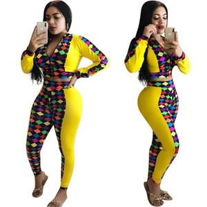 As mulheres do desenhista da manta de retalhos Tracksuits Casual 2 Pants Pedaço magros Suits Moda Primavera de outono Dois Outfit Pieces com Zipper