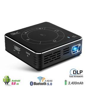 3D العارض الروبوت 9.0 WIFI بلوتوث فك 4K 3D أحدث اللمس المحمولة DLP العارض سينما GYM كبير بطارية C99