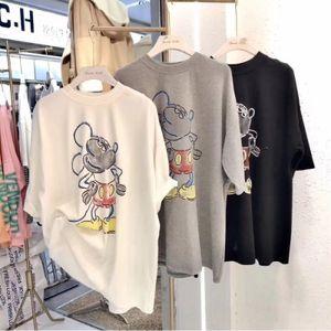 2020 nova Underpants T- cuecas verão celebridade on-line T-shirt de manga curta coreano 9M3aT femaleKorean camisa base solta estilo europeu la