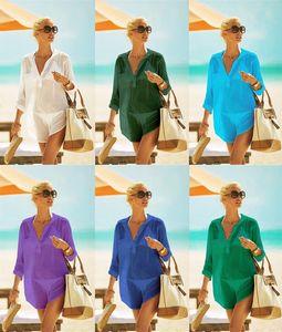 Yi9sP İnce rayon gömlek tarzı tatil Holiday Beach Etek withpocket plaj etek