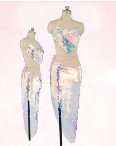 Mulheres Belly Dance Costume Set Lady bellydance Top + Hip envoltório do lenço Belt Lantejoula escala de peixes acessórios 2pcs rosa Lantejoula Dancewear