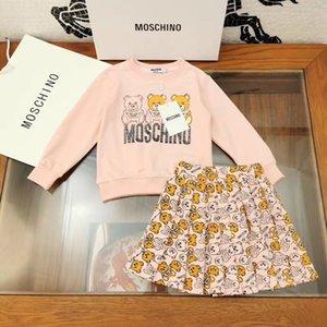 enfants mode set vente de vêtements filles chaude hoodies set top jupe à volants 2pcs vêtements pour enfants
