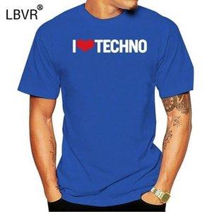 Impreso I Love Techno camiseta chica chico informal unisex naturales camisetas de los hombres de cuello redondo de manga corta