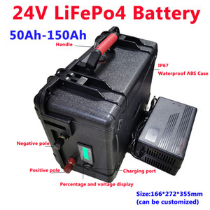 Waterproof LiFePo4 24V 50Ah 60Ah 80Ah 100Ah 120Ah 150Ah lithium battery with BMS for thruster solar fishing boat+10A charger