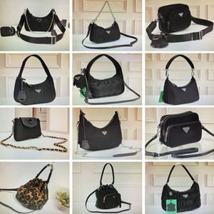Siyah Naylon Hobo Crossbody Çanta Mini Çanta Kadın Çanta Moda Omuz Çantaları Eyer Çantası Haftasonu Kamuflaj Çanta Zincir Tote Anahtar Cüzdan