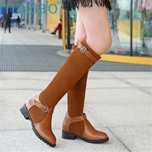 New Die Stiefel Leder Chunky Heeled Frauen Lange Stiefel Round Toe Schnalle Mode Hohe MAZIAO