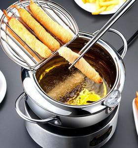 유도 쿠커 오일 여과기에 대한 깊은 프라이 팬 튀김 냄비 여과기 온도계 냄비 2 크기 KKA8032 요리