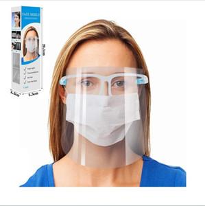 Claro protectora de la cara máscara de pantalla protector de plástico de la cara llena Máscara de aislamiento anti-niebla de aceite máscara protectora del sombrero del protector con los vidrios FY8038