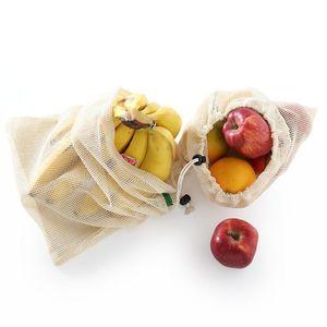 Vegetable reutilizável Fruit Shopping Bag Organic Cotton Malha Produce Drawstring Bag Para Casa Cozinha Grocery armazenamento DHA909