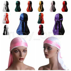Mulheres Bandana Turban Hat Color Matching Durag Hip Hop Headwear Lenço headwrap cauda longa Crânio Cap pirata Hat Party Hats Fontes RRA3468