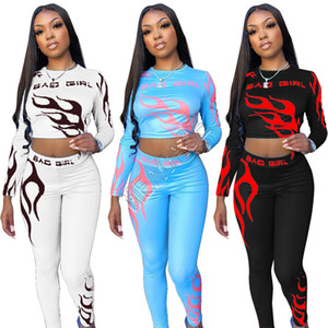 S-2XL Frauen Bad Girls Fire 2 Stück Outfits Hoodie Blusen Crop Tops + Pants Legging Sport Fashion Yoga Gym Trainingsanzug Bekleidung setzt D82808
