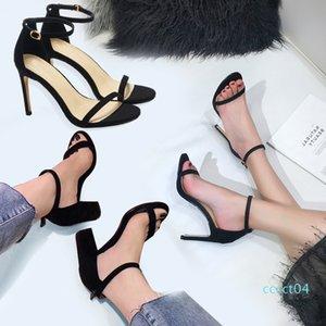 2020 verano nuevo estilo hebilla plana sandalias gruesas de tacón de piel de oveja las mujeres de cachemira correa de punta abierta bolsa de zapatos de tacón alto de la raíz tamaño negro 34-40 CT4